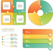 Colorful infographics set of three different  geometric shapes for graphic design. Layered and groupped. Jpg & Vector eps 10, transparency used.  >>> MY INFOGRAHIC lightbox