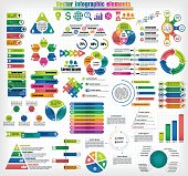 Big set of different infographics templates. Colorful labels, circular and pyramid charts, timeline elements. Vector illustration.