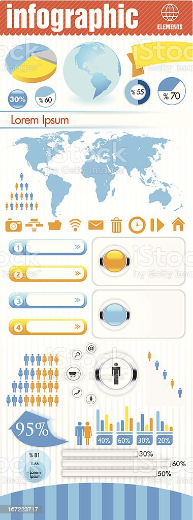 Infographic set. World Map and Information Graphics royalty-free stock vector art
