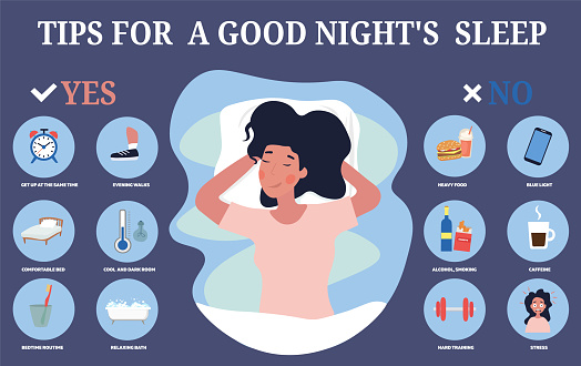 Infographic showing tips for restful sleep
