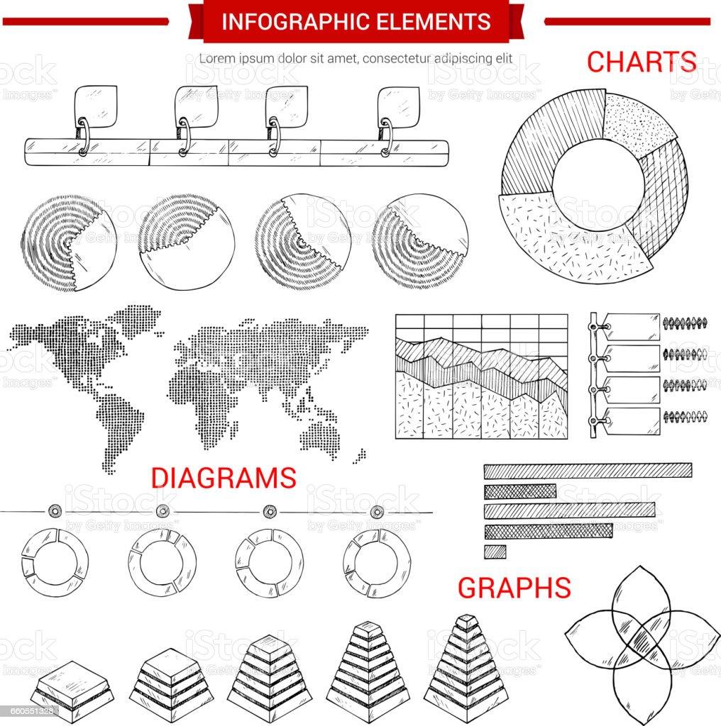 Infografik Skizze Grafik, Vektor Diagrammelemente – Vektorgrafik