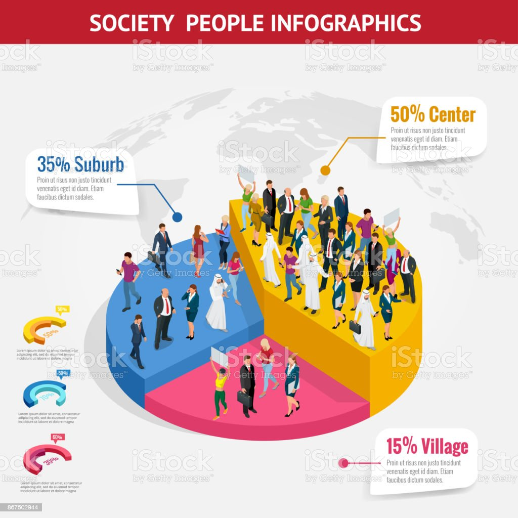 Infographic Society isometric background with people of different occupations. People meeting, discussing, planning, brainstorming at the blackboard vector art illustration