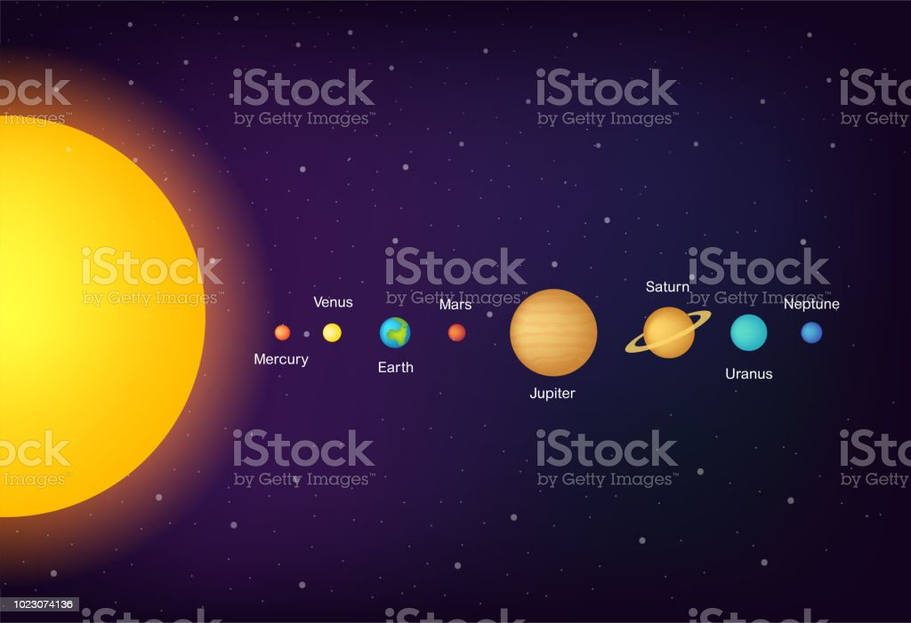 infographic solar system planets on universe background vector