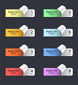 Vector Infographic Stickers, Tags And Labels. Pastel Colors Stickers With Curled Corner