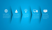 Infographic style blue colored menu or arrows option, vector on blue background