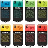 Eight colorful infographic tabs.  Global CMYK colors used.