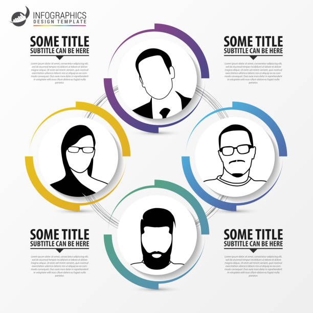 Infographic template. Abstract 4 Circle. Vector Infographic template. Abstract 4 Circle. Vector illustration four people stock illustrations