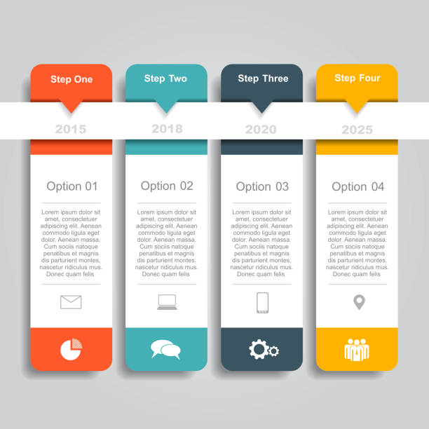 infographic template. can be used for workflow layout, diagram, business step options, banner, web design. - part of a series stock illustrations, clip art, cartoons, & icons