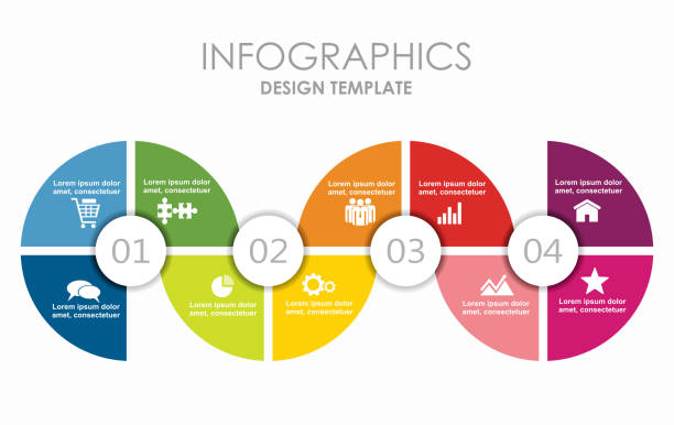 infographic template. can be used for workflow layout, diagram, business step options, banner, web design. - часть серии stock illustrations
