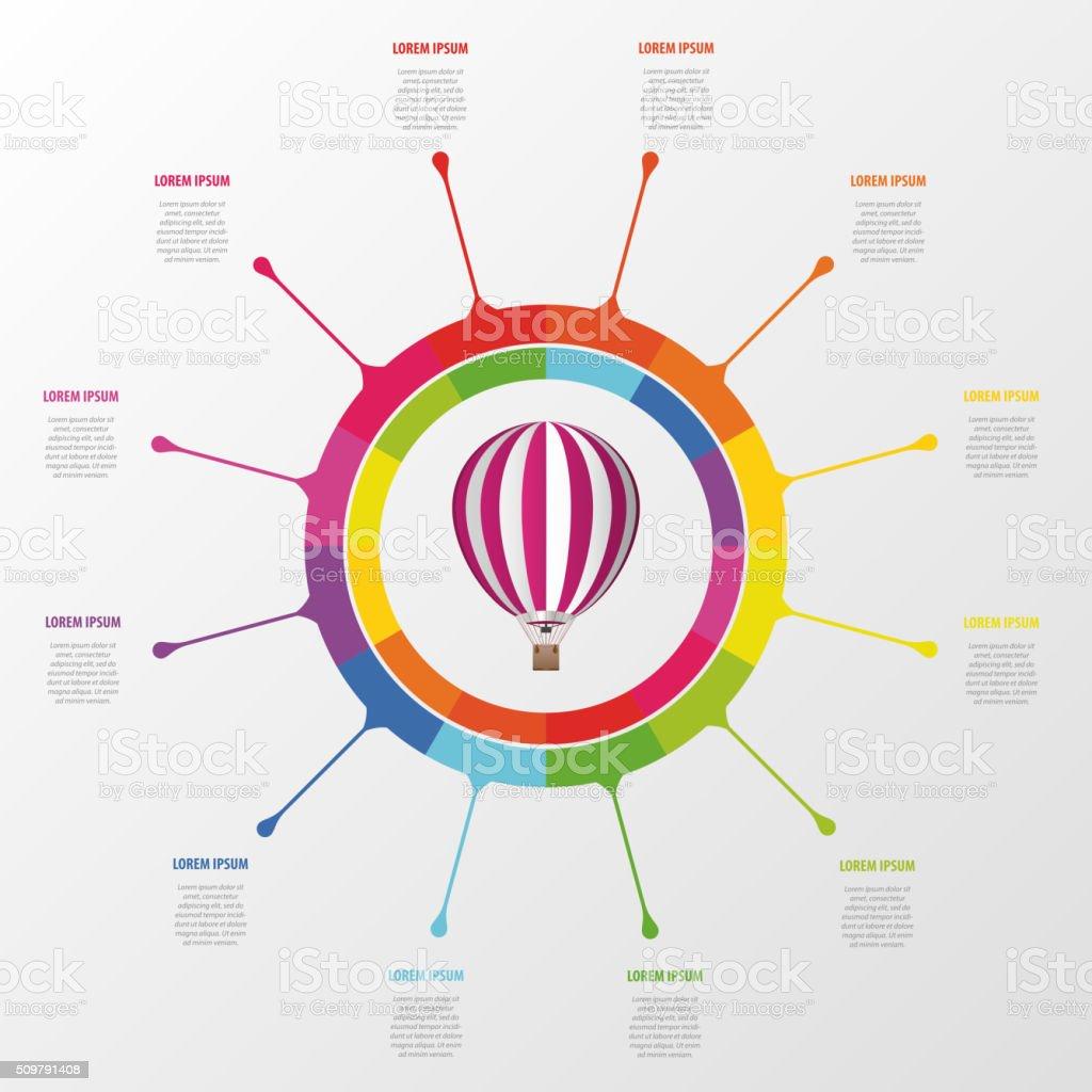 Infographik Vorlage Bunte Kreis Mit Dem Heißluftballon Stock Vektor ...