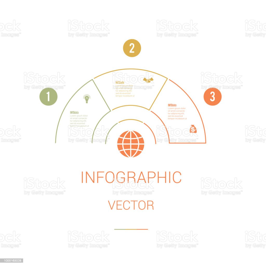 infographic template colourful pie chart semicircle with text areas