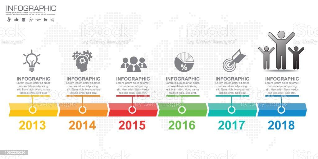 Modelo de design de infográfico com 6 opções de cores. - Vetor de Ciclo royalty-free