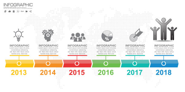 infographic 6 색상 옵션으로 템플릿 디자인입니다. - timeline stock illustrations