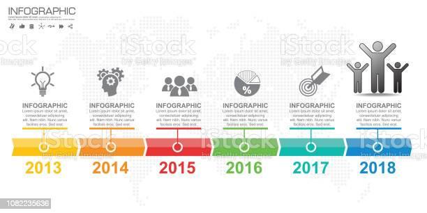 Vetores de Modelo De Design De Infográfico Com 6 Opções De Cores e mais imagens de Ciclo
