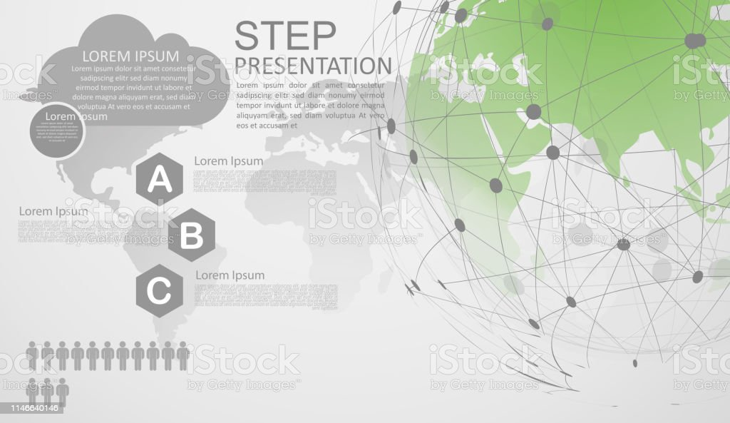 infographic template for diagram gobal network connection  world map point  internet of things, computing design technology background - illustration