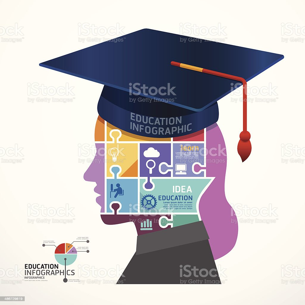 infographic template graduation cap with head jigsaw banner stock