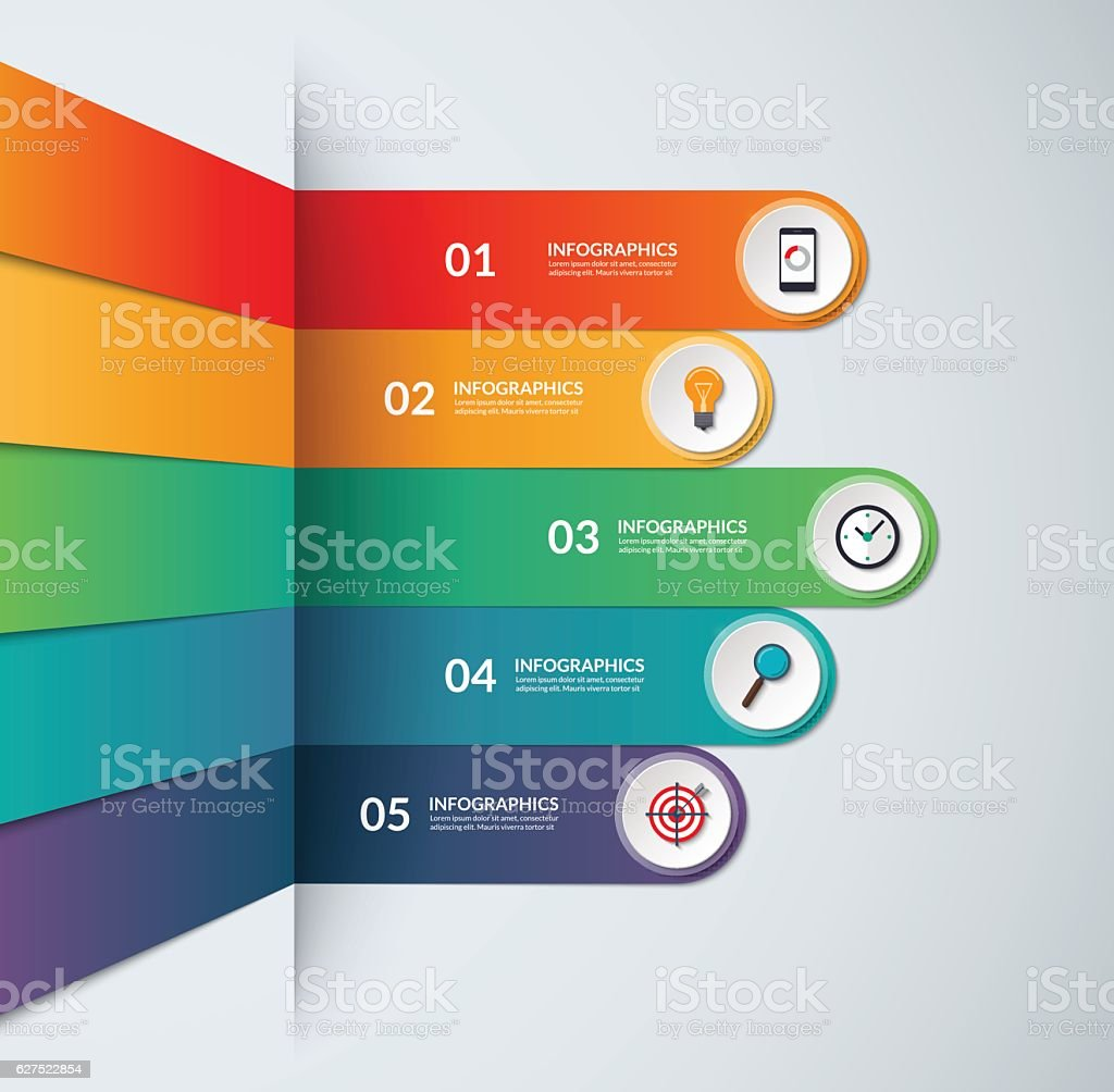 Infographic template in the form of broken strips vector art illustration