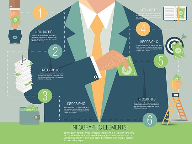 Infographic template, money concept vector art illustration