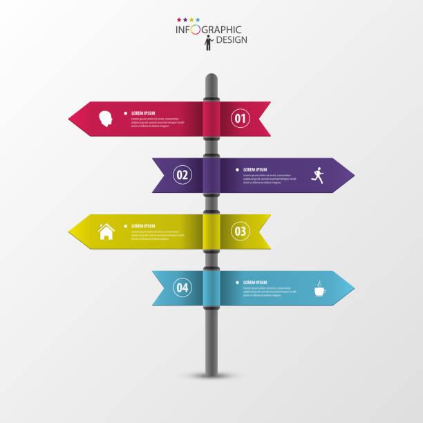 bildbanksillustrationer, clip art samt tecknat material och ikoner med infographic template of multidirectional pointers on a signpost - stock arrow