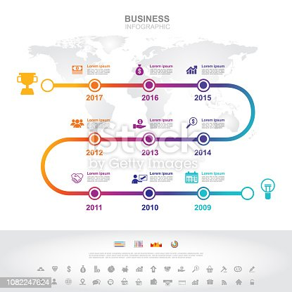 istock Infographic template. Timeline infographic Business success concept with graph. vector design. Elements of this image furnished by NASA 1082247624