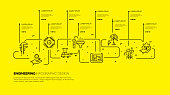 Infographic template with engineering icons