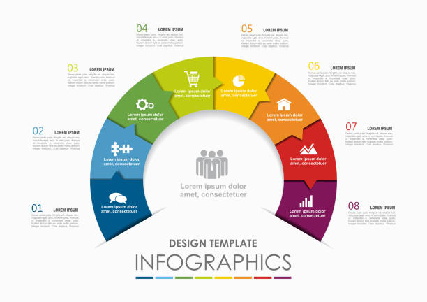 Infographic template. Vector illustration. Can be used for workflow layout, diagram, business step options, banner. Infographic template. Vector illustration. Can be used for workflow layout, diagram, business step options, banner, web design. number 8 stock illustrations
