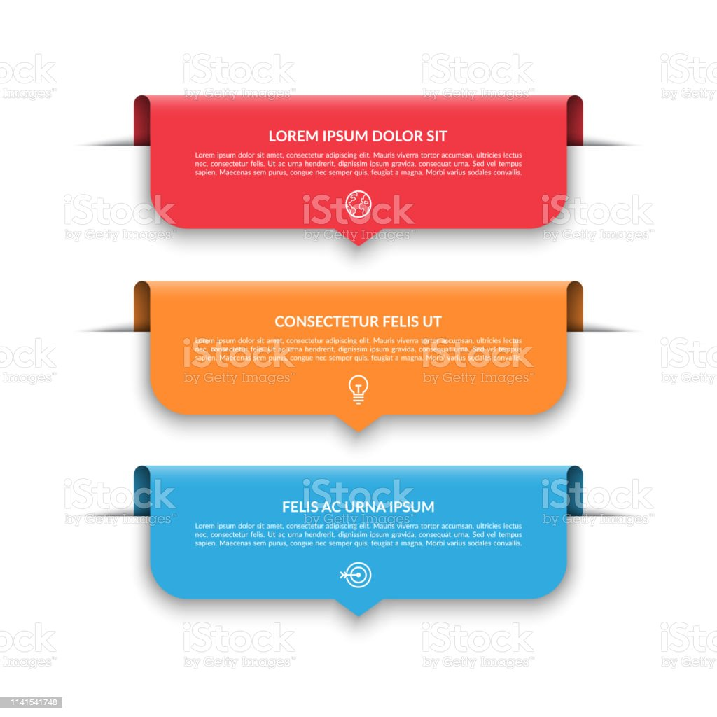 Infographic Template With 3 Colorful Arrows Labels Tags Can Be Used