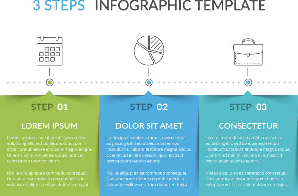 infographic template with 3 steps - three shapes stock illustrations, clip art, cartoons, & icons