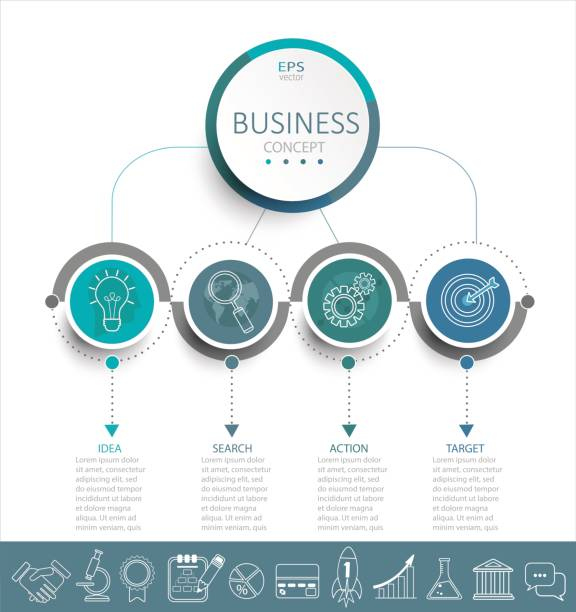 Infographic template with 3D circles paper label. Vector illustration infographic template with 3D circles paper label, business template for presentation. Creative concept for infographic, diagram, flowchart, workflow layout. Line business icon set. conceptual symbol stock illustrations