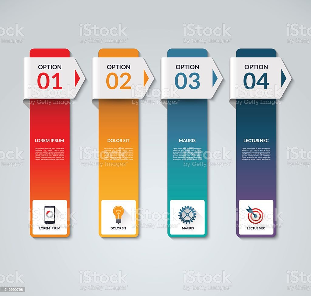 Infographic template with 4 arrows, options, steps, parts, vertical bars 벡터 아트 일러스트