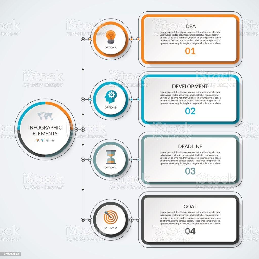 Ilustración de Plantilla De Infografía Con 4 Círculos De Opción Y ...