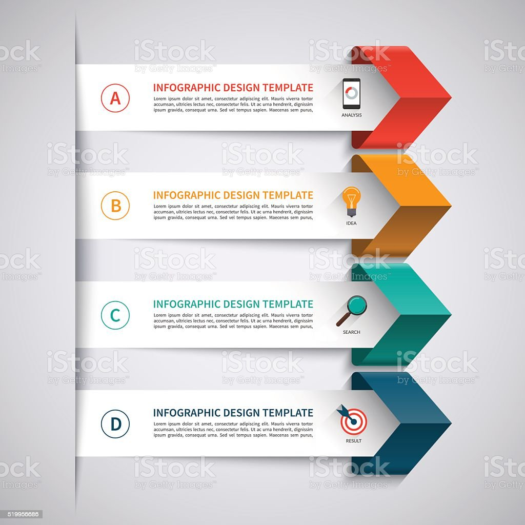 Infographic template with 4 options vector art illustration