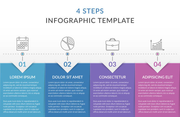 Infographic Template with 4 Steps Infographic template with 4 steps, workflow, process chart, vector eps10 illustration number 4 stock illustrations