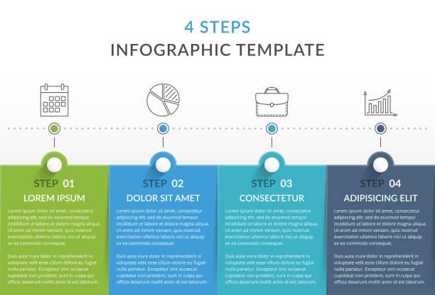 Infographic Template with 4 Steps - ilustração de arte vetorial