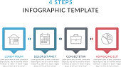 Infographic template with 4 elements for text and icons, can be used for web design, workflow layout, process chart, vector eps10 illustration