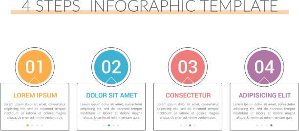 Infographic Template with 5 Steps - illustrazione arte vettoriale