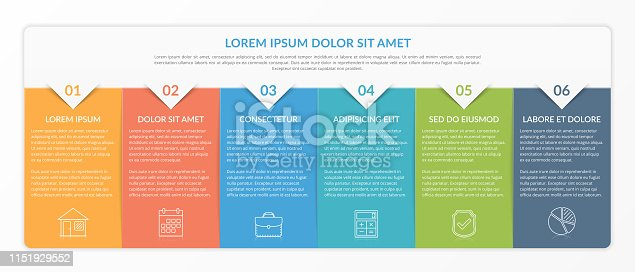 Infographic template with 6 elements for text and icons, can be used for web design, workflow layout, process chart, report, company milestones, vector eps10 illustration