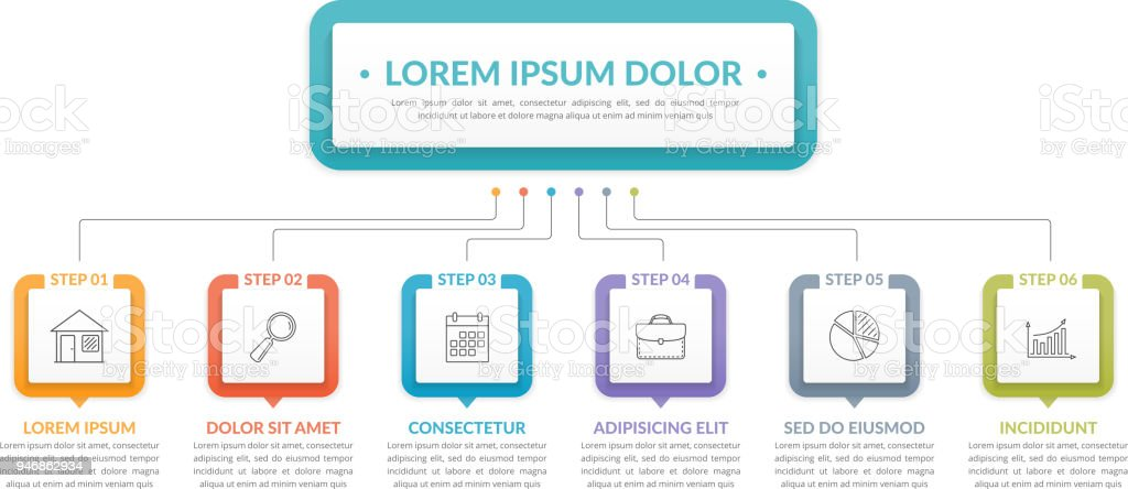 Infographic Template with 6 Steps royalty-free infographic template with 6 steps stock illustration - download image now