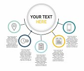 Infographic template with a five steps Business circle template white background
