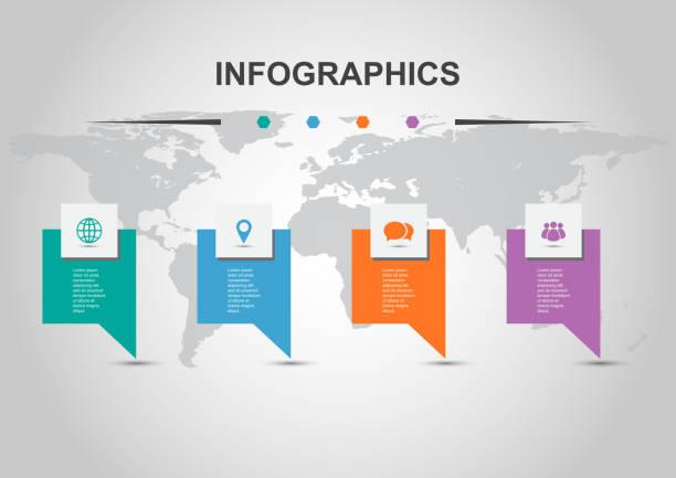 illustrations, cliparts, dessins animés et icônes de modèle d'infographie avec conception de bannières - infographie processus