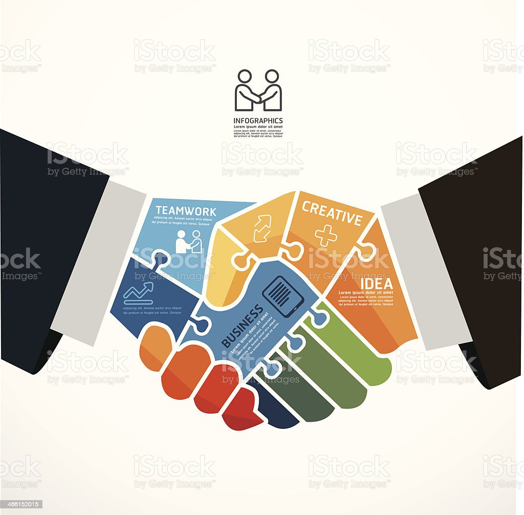infographic Template with businessman handshake jigsaw banner . vector art illustration