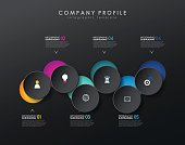Infographic template with six circles and icons - dark version.