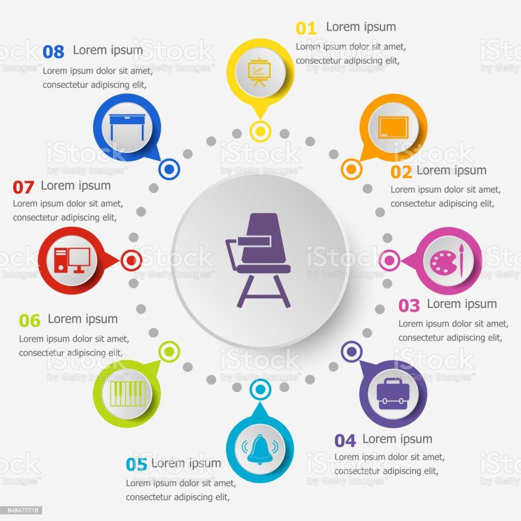 Infografikvorlage Mit Klassenzimmer Icons Stock Vektor Art und mehr ...