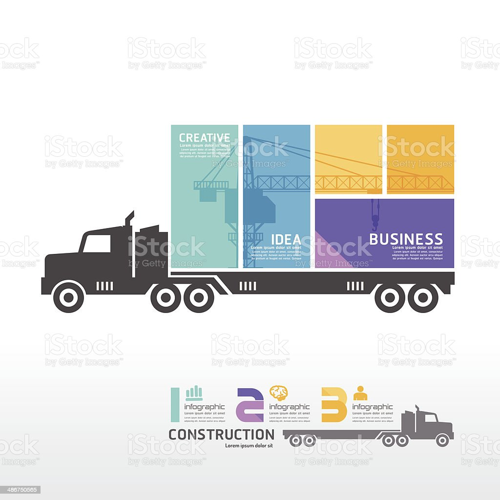 infographic Template with Container truck banner. vector art illustration