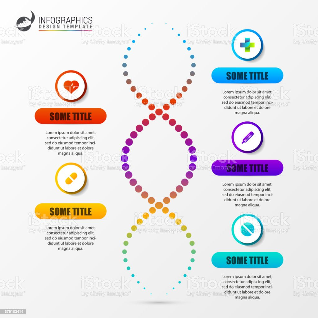 infographic template with dna structure science concept stock vector art more images of banner. Black Bedroom Furniture Sets. Home Design Ideas