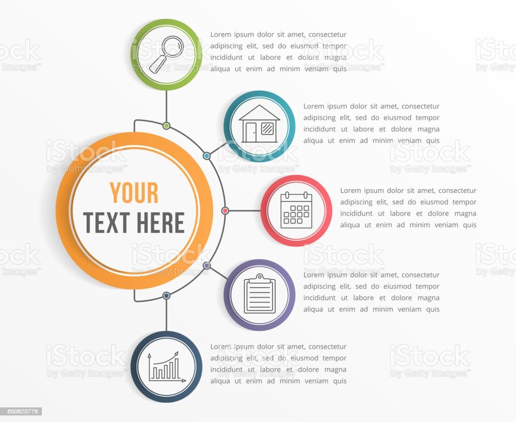 Infographic Template with Five Steps vector art illustration