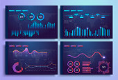 Infographic template with flat design daily statistics graphs, dashboard, pie charts, web design, UI elements.
