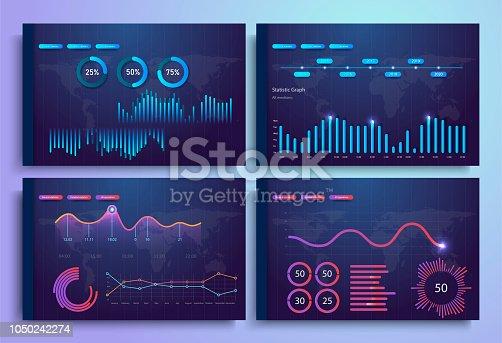 Plantilla de infografía con gráficos de estadísticas diarias de diseño plano, tablero de instrumentos, gráficos, diseño web, elementos de la interfaz. Pantalla de datos de gestión de red con gráficos y diagramas.