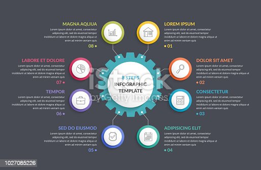 Infographic template with gear with eight elements, steps or options, vector eps10 illustration