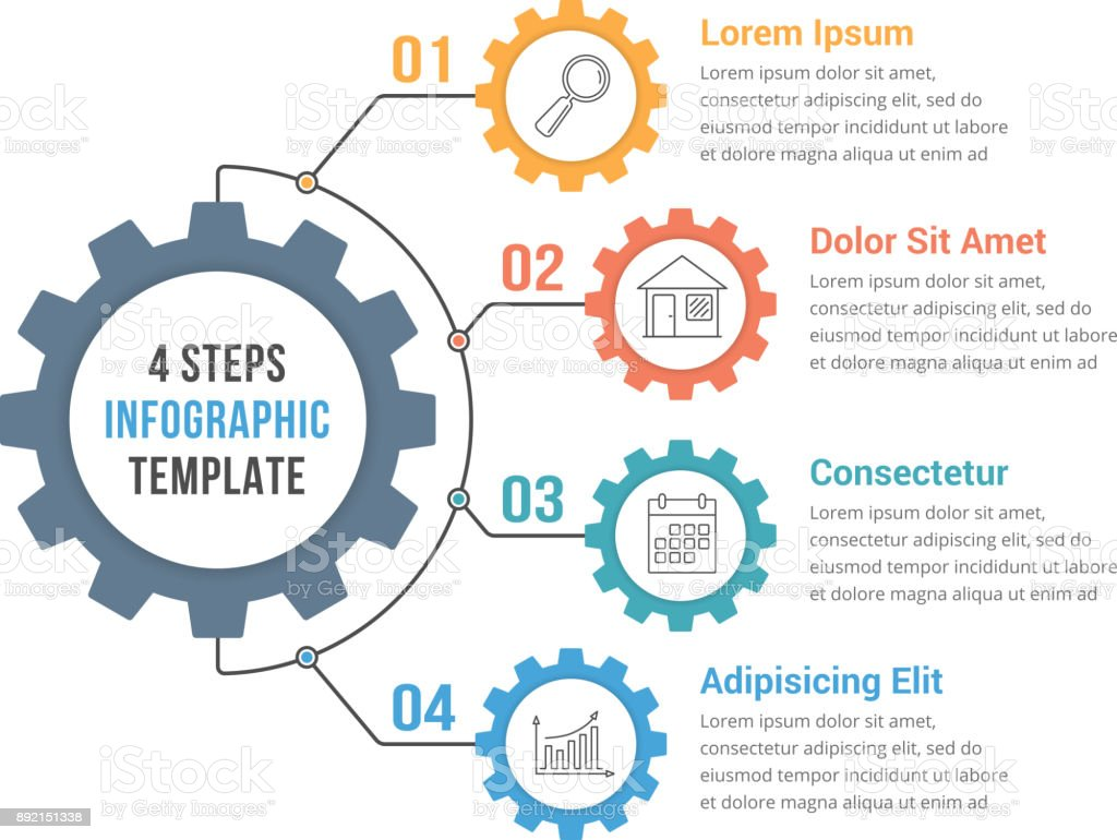 Infographic Template with Gear royalty-free infographic template with gear stock illustration - download image now